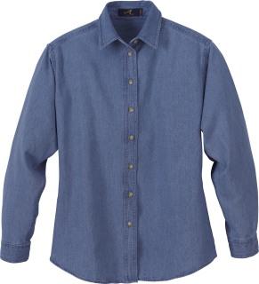 Ladie's Denim Long Sleeve Shirt-