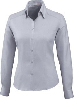 Ladie's Wrinkle Free 2-Ply 80's Cotton Stripe Jacquard Taped Shirt-