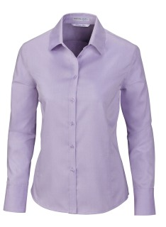 Boulevard Ladie's Wrinkle Free 2-Ply 80's Cotton Dobby Taped Shirt With Oxford Trim-