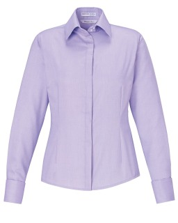 New Refine Ladie's Blue Wrinkle Free 2-Ply 80's Cotton Royal Oxford Dobby Taped Shirts-
