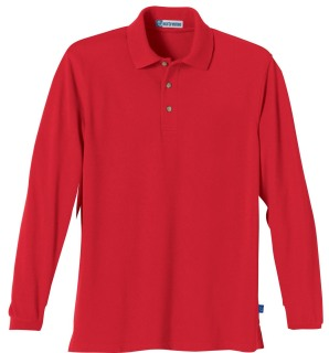 Men's Long Sleeve Pique Polo With Teflon-