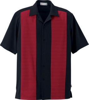 Men's Knit Ottoman Color-Block Camp Shirt-