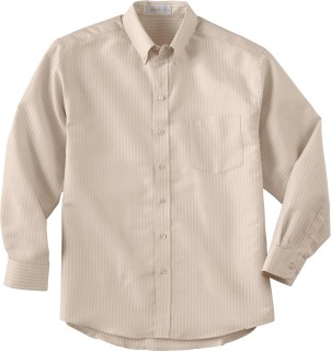 Men's Wrinkle-Resistant Yarn-Dyed Stripe Long Sleeve Shirt-