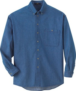 Men's Denim Button-Down Long Sleeve Shirt-