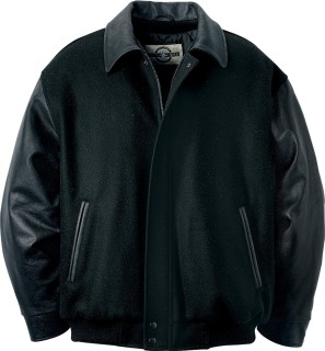 Men's Melton Leather Jacket With Bishop Collar-