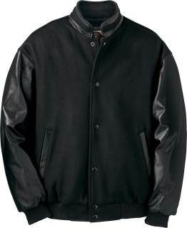 88091 Men's Melton Leather Jacket With Stand Collar-
