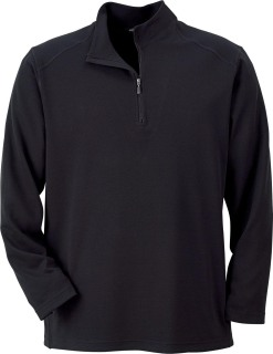 Men's Long Sleeve Polyester Pinstripe Eyelet Mock-