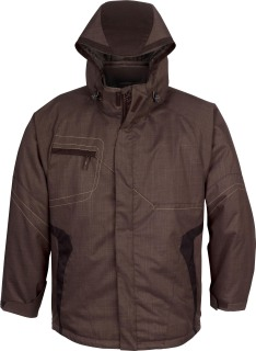 Men's Two-Tone Textured Insulated Jacket With Hood-