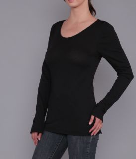Ladies Long Sleeve Solid Dye, Scoop Neck Jersey Tee by Branded Bull