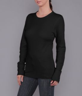 Ladies Long Sleeve Light Weight Basket Knit Thermal, with Extended Cuff