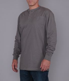 Men's Long Sleeve Henley Pocket Tee