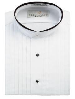 Trimmed Banded Collar Tuxedo Shirt