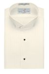"Men's Ivory 1/4"" Pleat Wing Tuxedo Shirt"