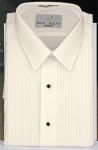 "Men's Ivory 1/4"" Pleat Laydown Tuxedo Shirt"