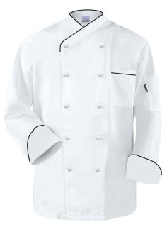"""Frenchy"" Chef Coat White Black Trim"