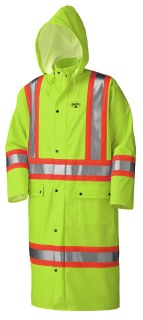 5897 Flame Resistant PU Stretch Hi-Viz Long Rain Coat-