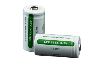 Package of Two LFP 123A Rechargeable Batteries-