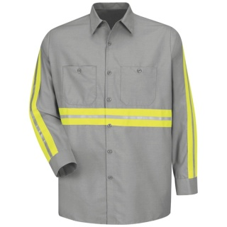 Enhanced Visibility Industrial Work Shirt - Long Sleeve-Red kap