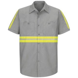 Enhanced Visibility Industrial Work Shirt - Short Sleeve