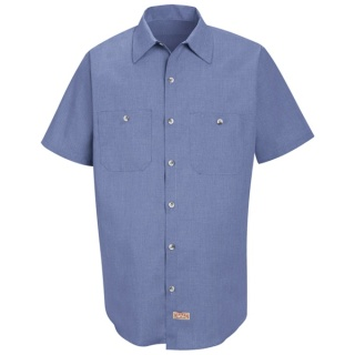 Men's Geometric Micro-Check Work Shirt - Short Sleeve