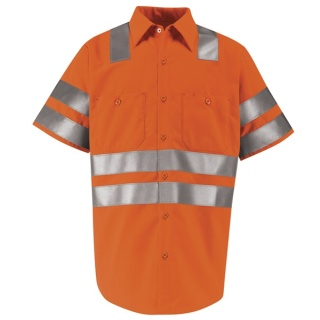 "Hi-Visibility Work Shirt - Class 3 Level 2 X"" Striping Configuration"" - Short Sleeve"