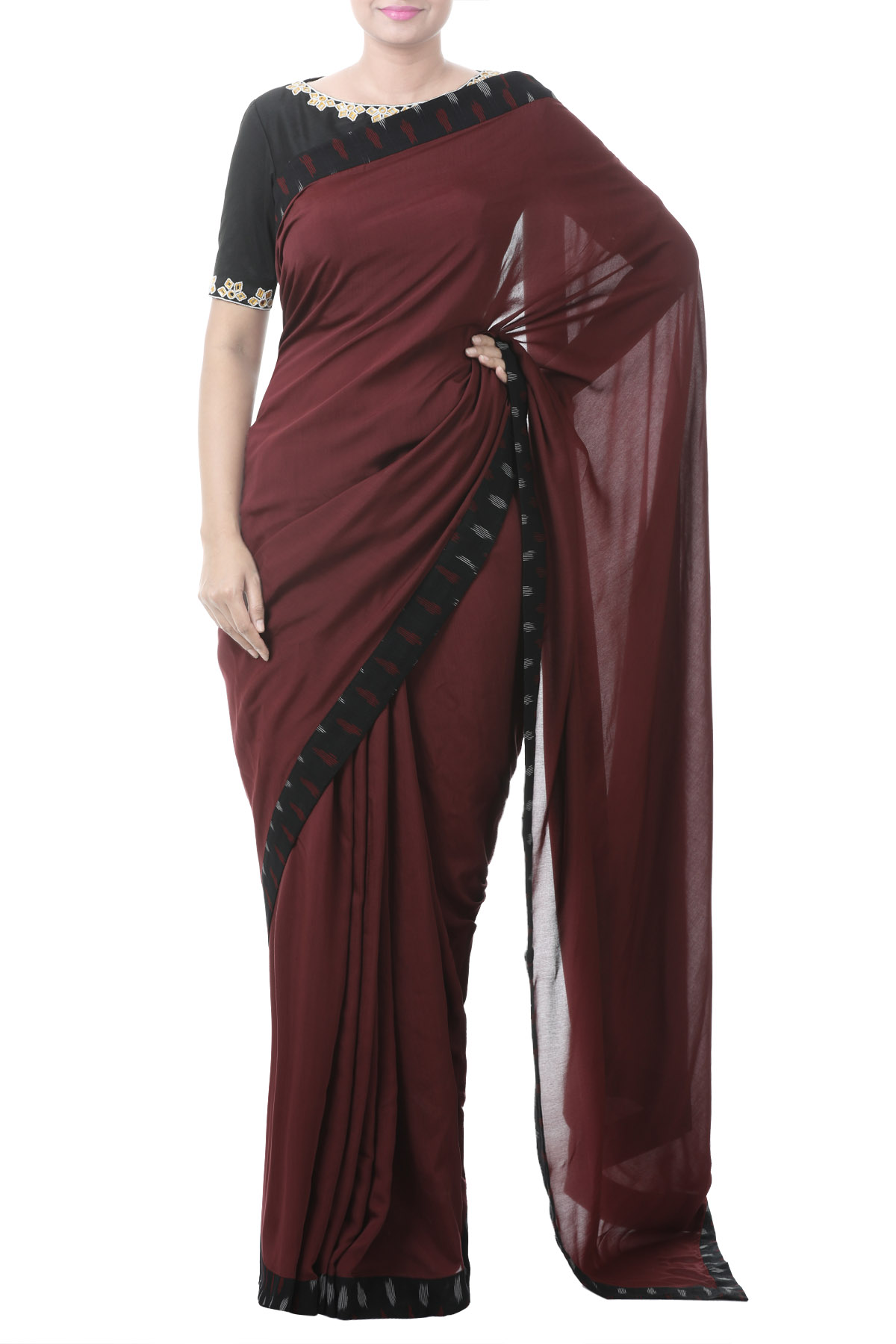 Black Mirror Embroidery Blouse With Saree