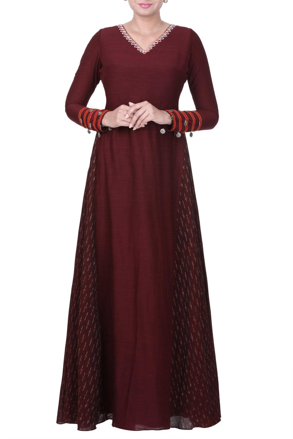 Maroon Maxi Dress With Ikat Panels