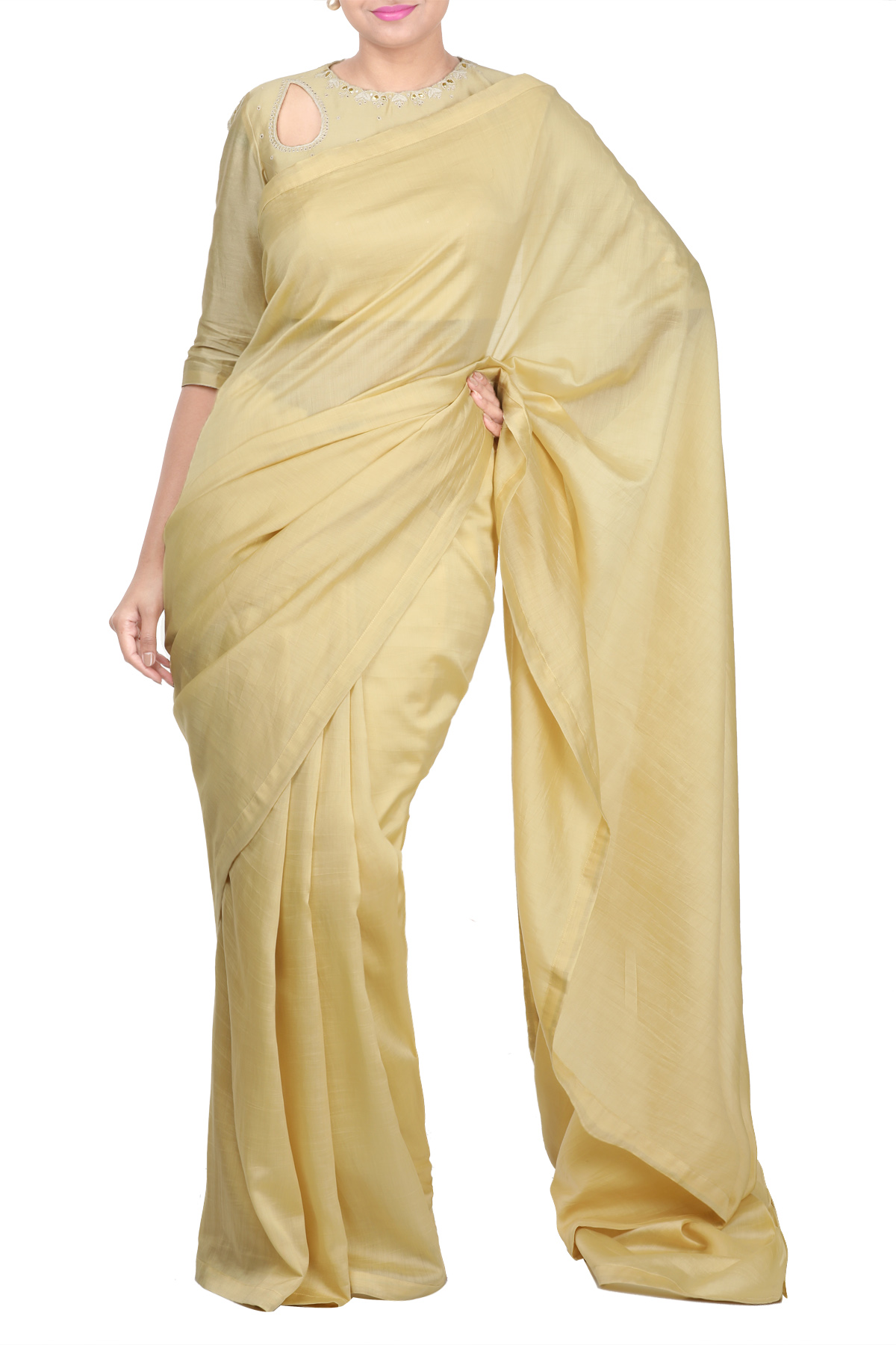 Beige Chanderi Gota Embroidery Blouse With Saree