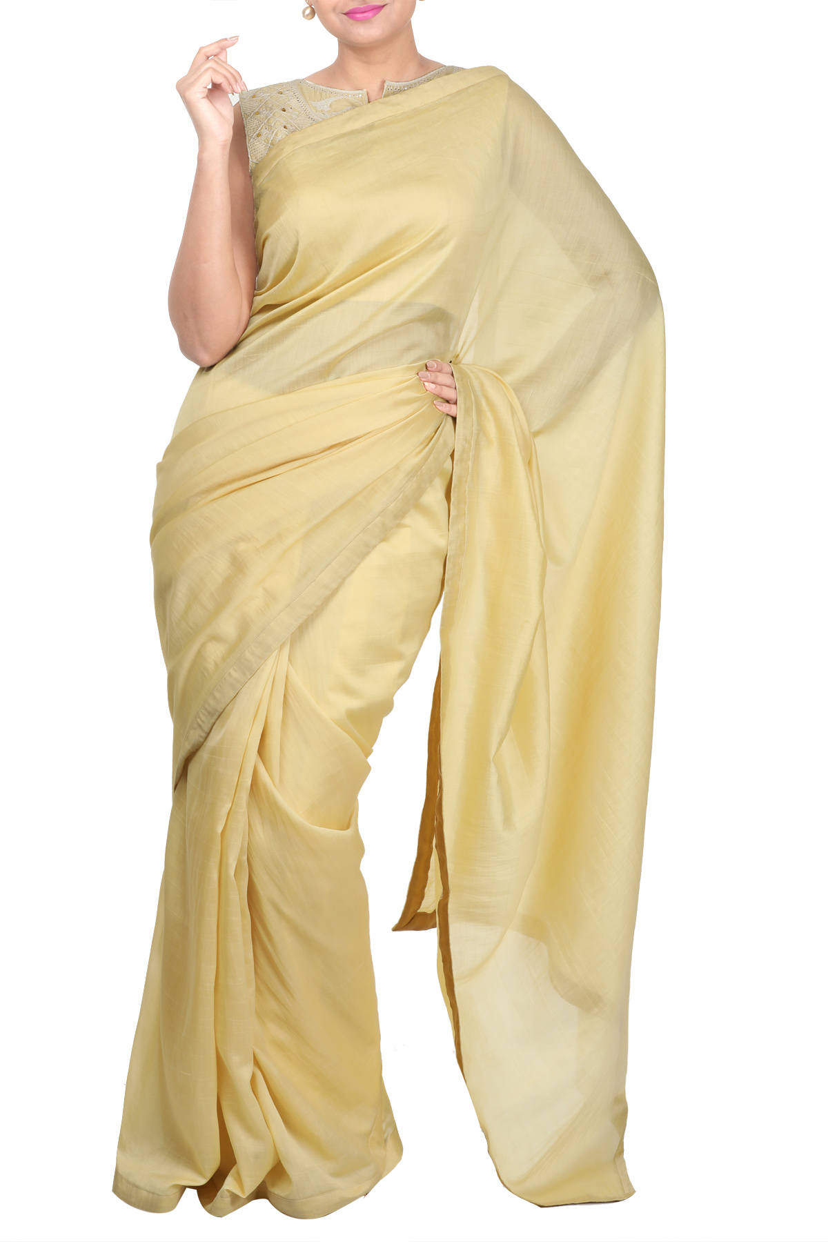 Beige Blouse With Gota Embroidery With Chanderi Saree