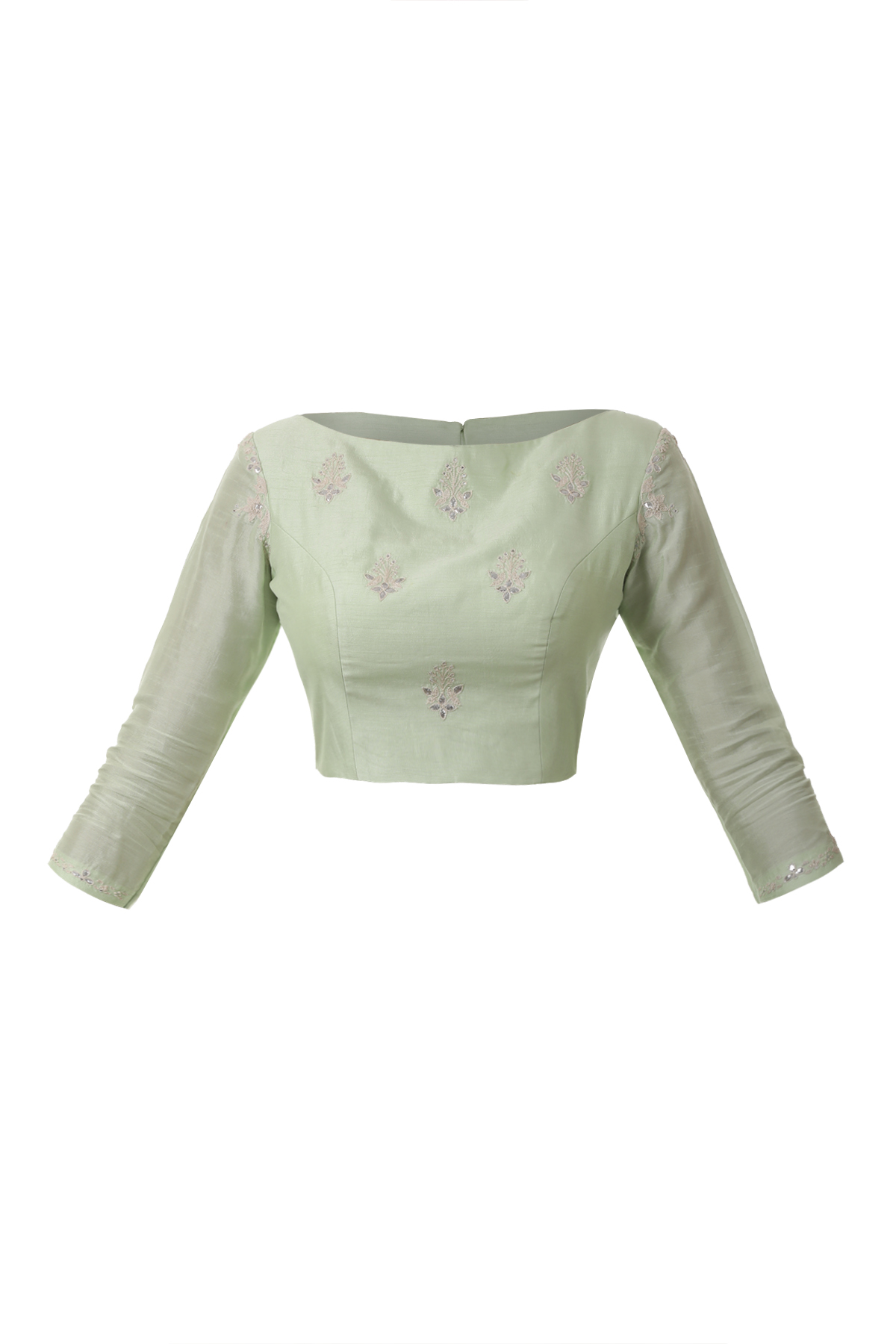 Pastel Green Blouse With Gota Embroidery