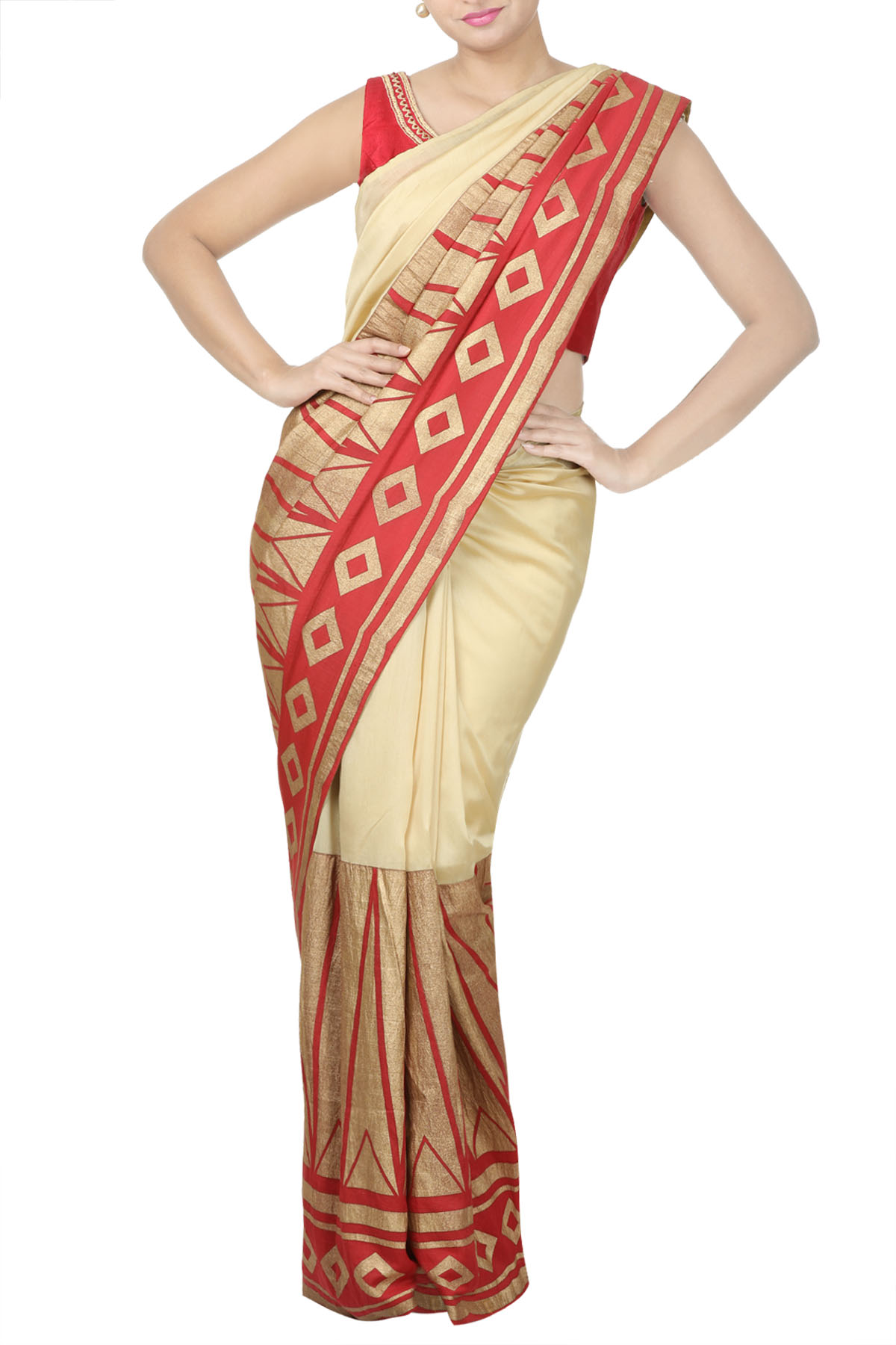 Beige & Red Screen Printed Saree with Red Embroidered Blouse