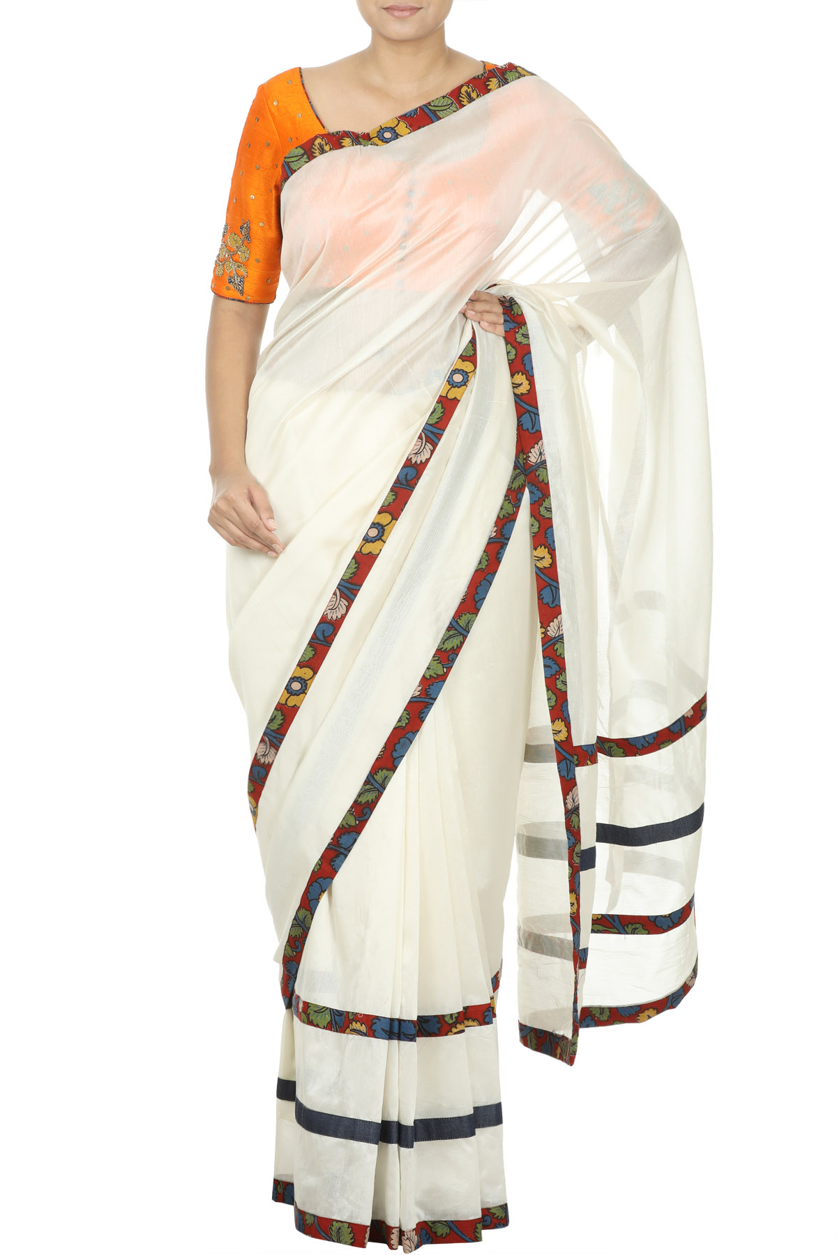 Beige Chanderi Bordered Saree (Blouse not included)