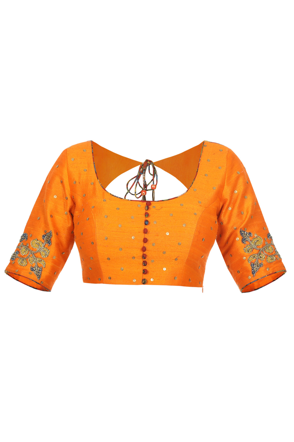 Orange Raw Silk Blouse With Embellished Sequins