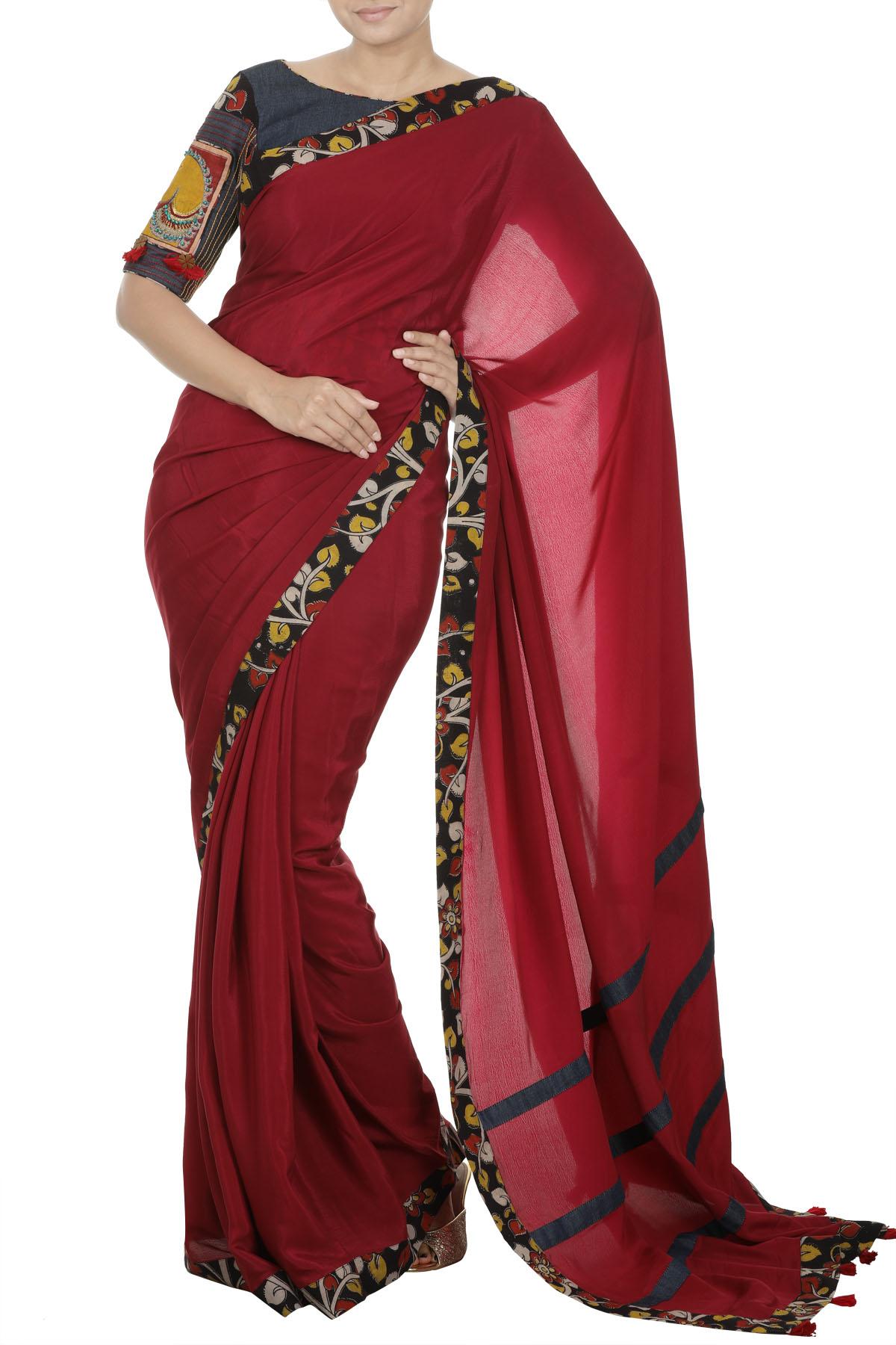 Denim Kalamkari Blouse With Ruby Red Saree