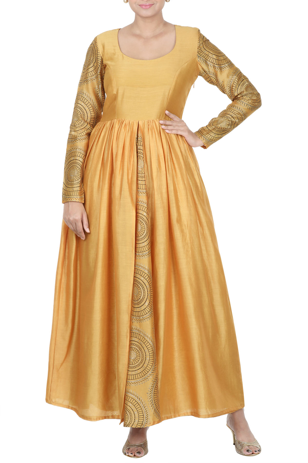 Floor Length Tunic With Slit At Front & Block Print Chudi Sleeves