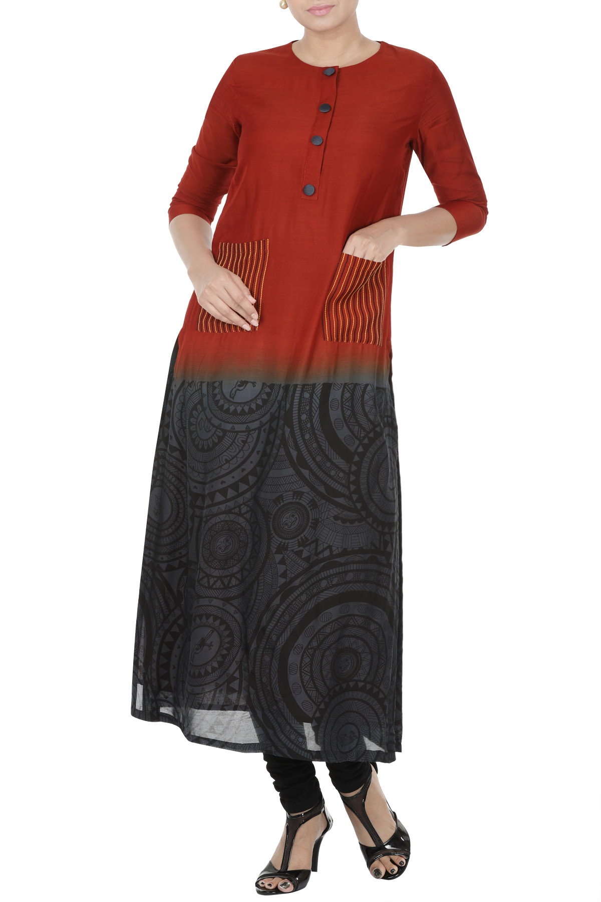 Ombre Kurti With Screen Print