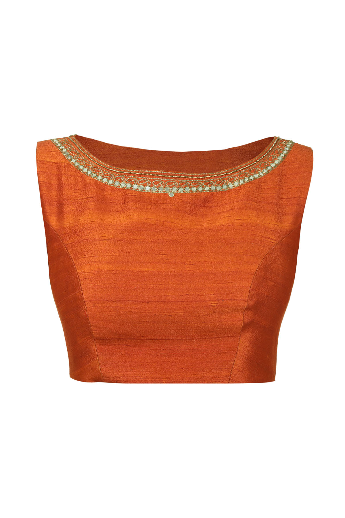 Rust Sleeveless Embroidered Blouse