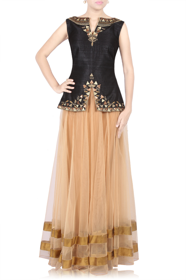 Black Antique EmbroideRed Crop Top with Beige Lehenga