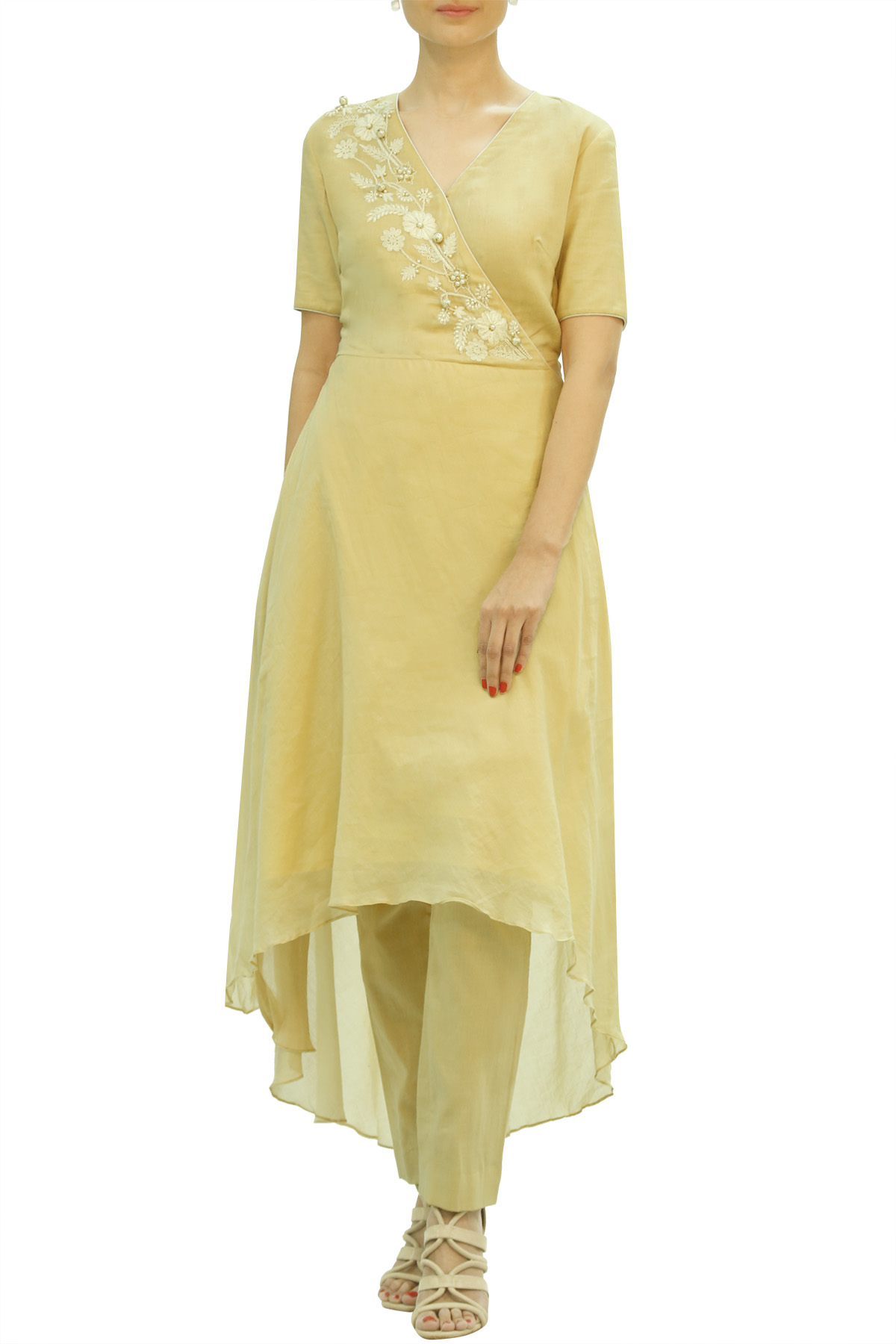 Beige High Low Kurta with Cigarette Pant