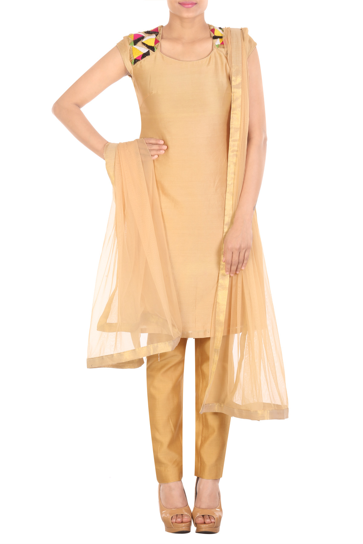 Beige embroidered tunic with straight pants and net dupatta