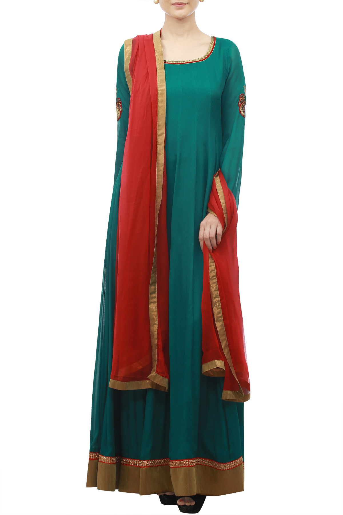 EmbroideRed Dark Teal Anarkali with Red Dupatta