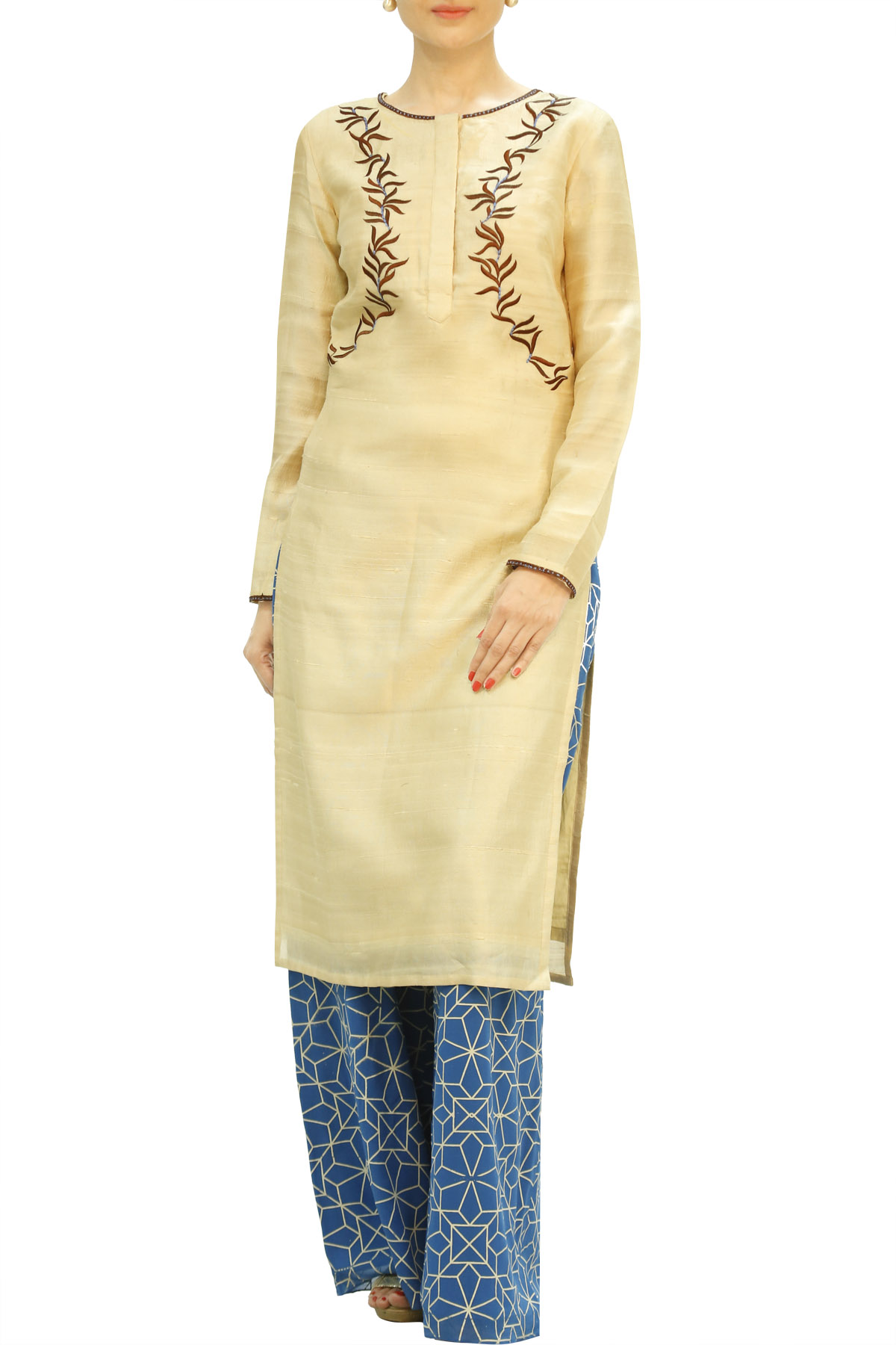 Bamboo Motif EmbroideRed Off White Kurta with Blue Palazzo