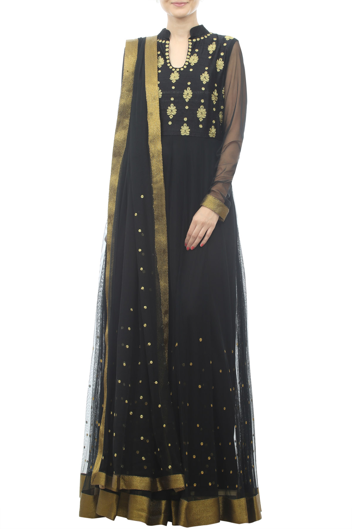 Black Floor Length Anarkali with Zari Embroidery &Dupatta
