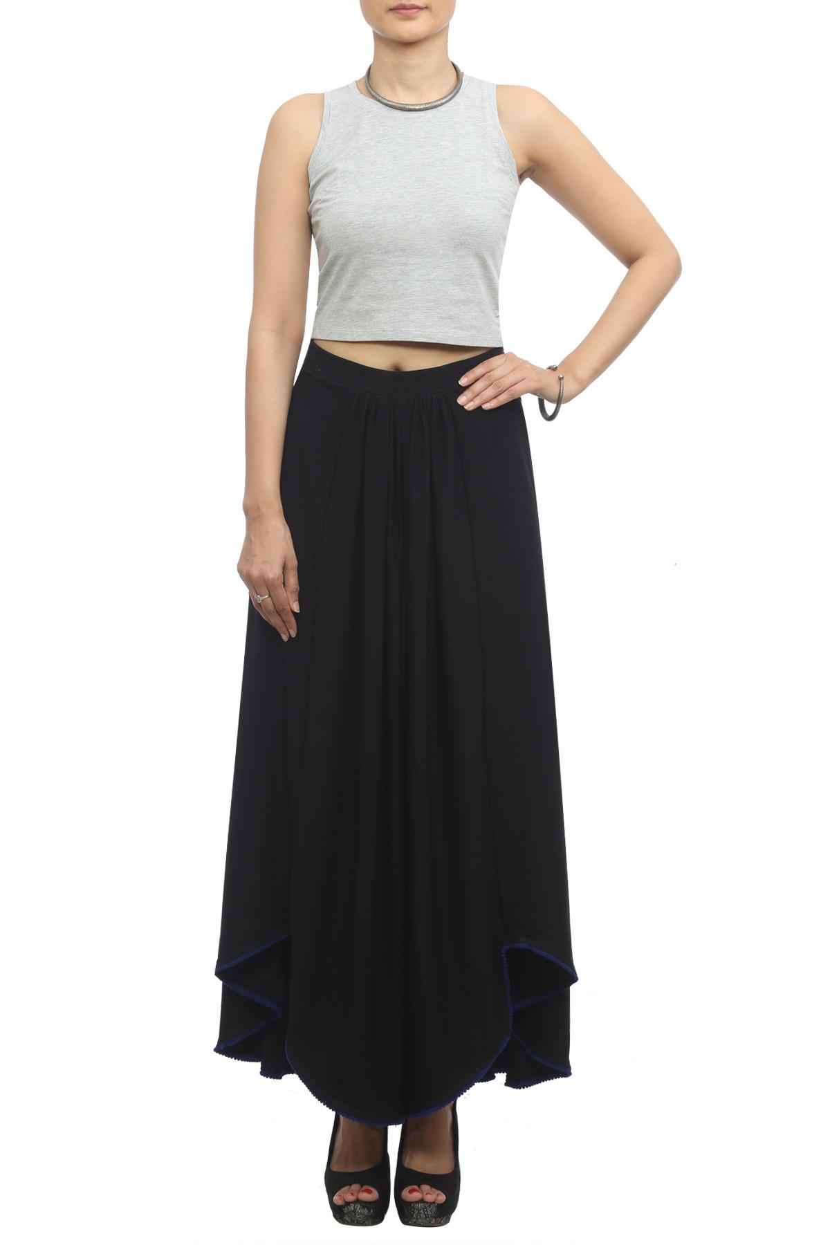 Black Asymmetrical High-Low Skirt