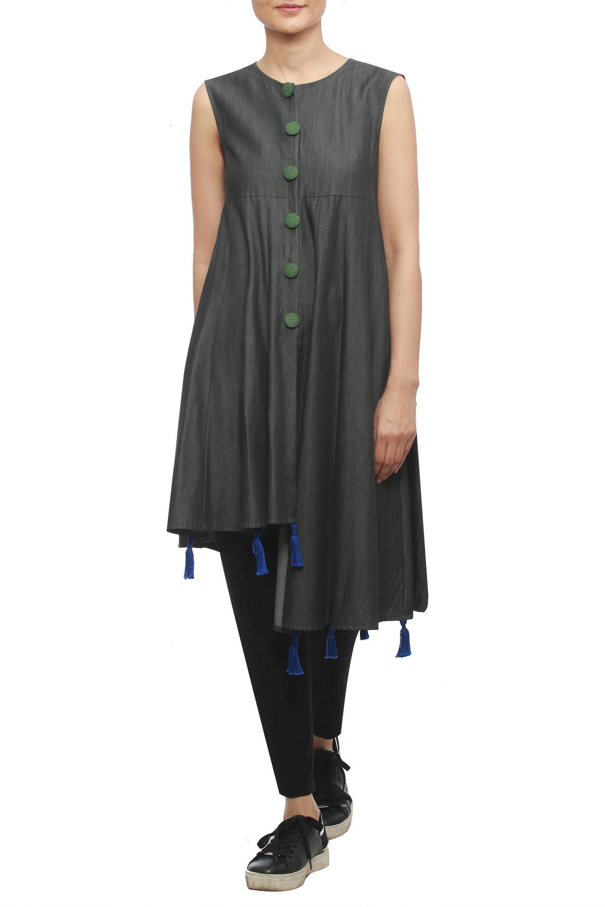 Black Asymmetrical Soft Denim Jacket