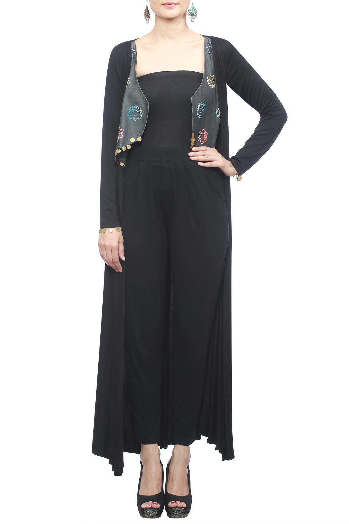 Black Full sleeves Cape with Embroidery & Block Print