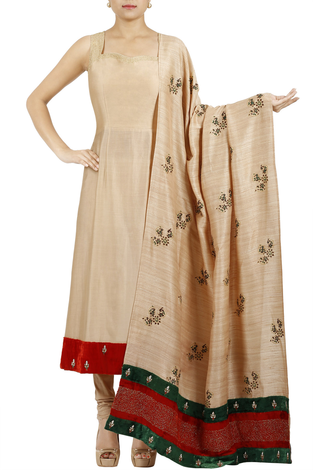 Beige Tunic with Printed Dupatta & Pants
