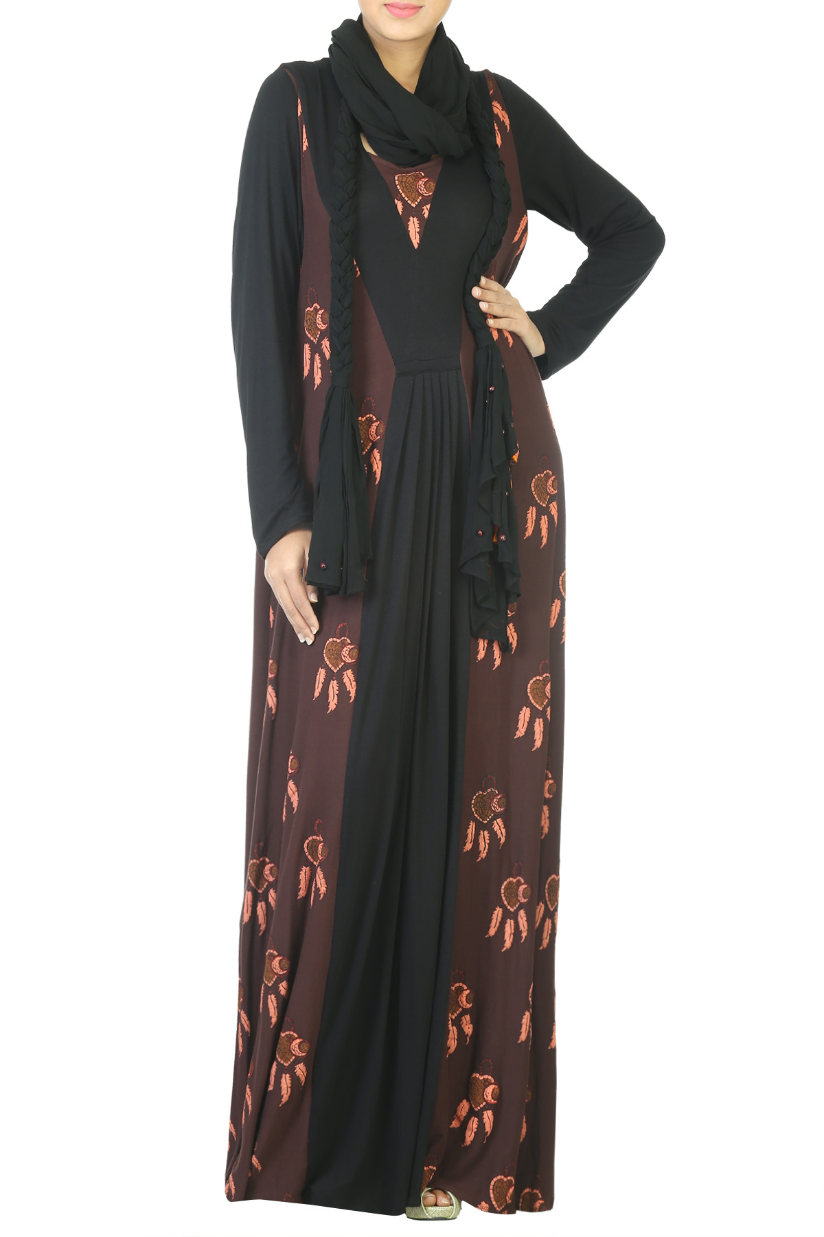Black Full Length Maxi With Braided Scarf