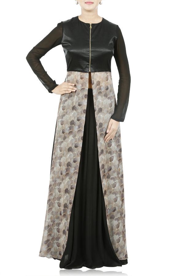 Black And Caramel Cape Top With Pleated Skirt