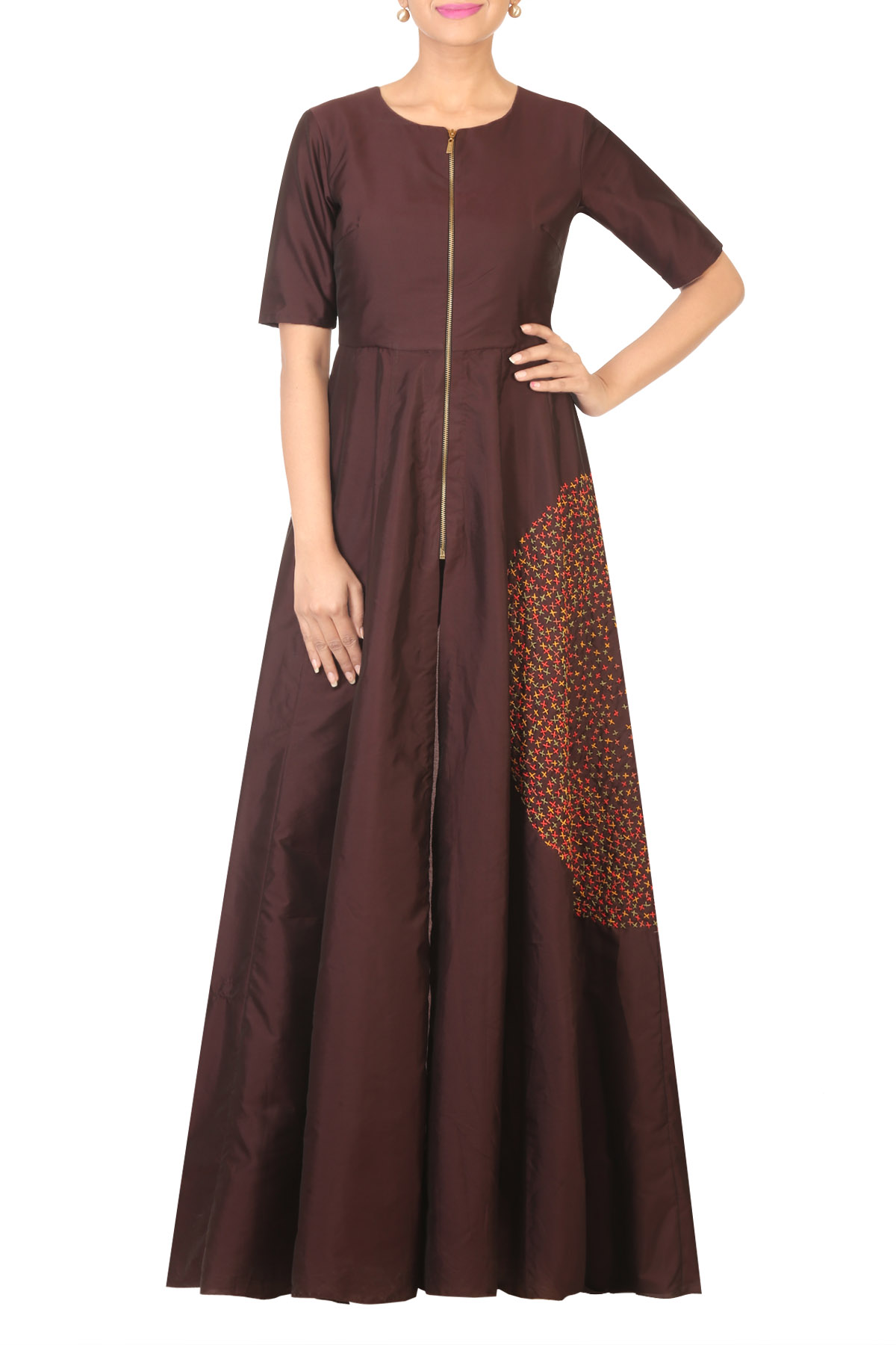 Brown Long Tunic with Beige Straight Pants